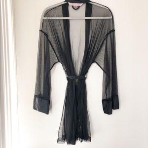 Victoria's Secret Black Lace Silk Sheer Kimono OS